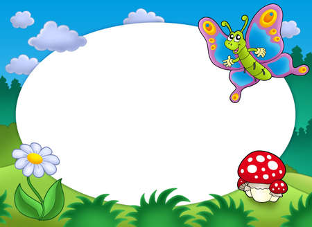 a toadstool: Round frame with butterfly and flower - color illustration.