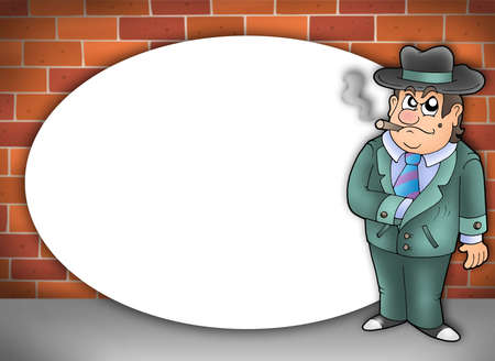cartoon gangster: Round frame with cartoon gangster - color illustration. Stock Photo