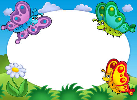 fine weather: Round frame with cute butterflies - color illustration. Stock Photo