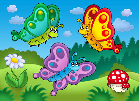 aerial animal: Three cute butterflies on meadow - color illustration.