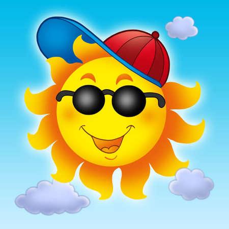 Cartoon Sun in cap on blue sky - color illustration. Stock Photo