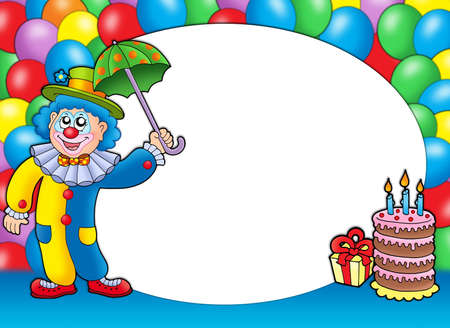 clown face: Round frame with clown and balloons - color illustration.