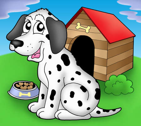 Dalmatian dog if front of kennel - color illustration. Stock Photo