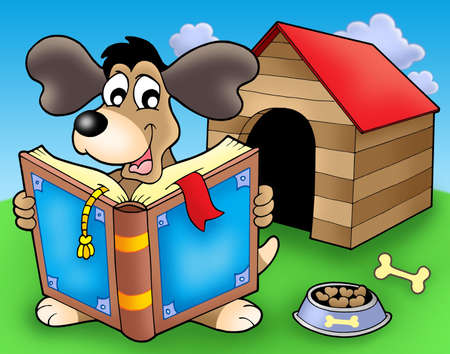 Dog with book in front of kennel - color illustration. Stock Illustration - 4928372