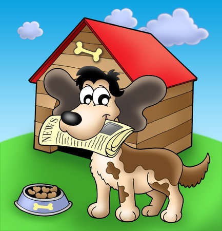 Dog with news in front of kennel - color illustration. Stock Illustration - 4928362