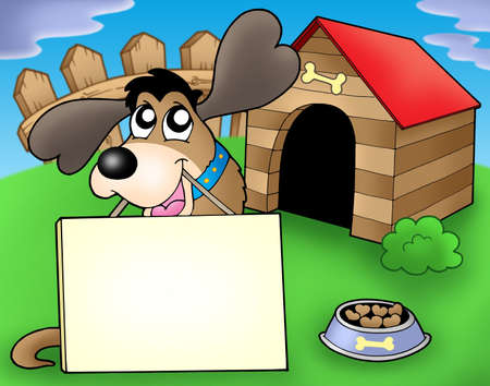 Dog with sign in front of kennel - color illustration. Stock Illustration - 4928366