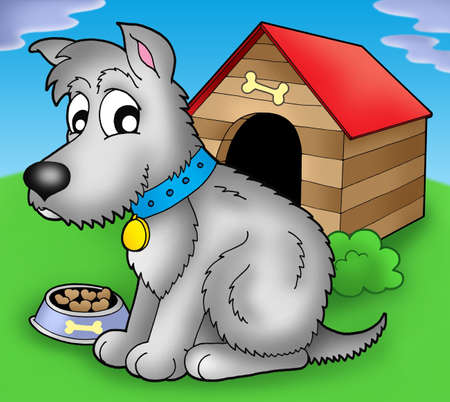 Grey dog in front of kennel - color illustration. Stock Illustration - 4928365