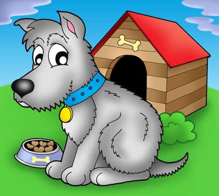 kennel: Grey dog in front of kennel - color illustration.