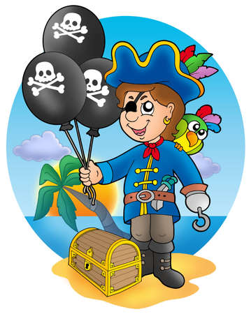 scarf beach: Pirate boy with balloons on beach - color illustration.