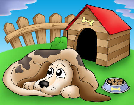 Sad dog in front of kennel 1 - color illustration. Stock Photo