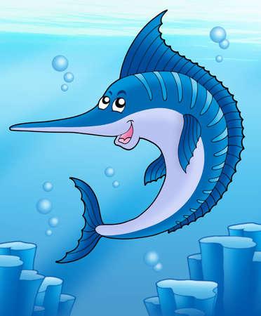 pez espada: Pez vela nadando en el mar - color ilustraci�n.