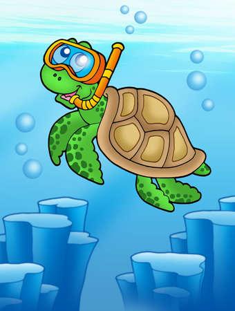 Sea turtle snorkel diver underwater - color illustration. illustration