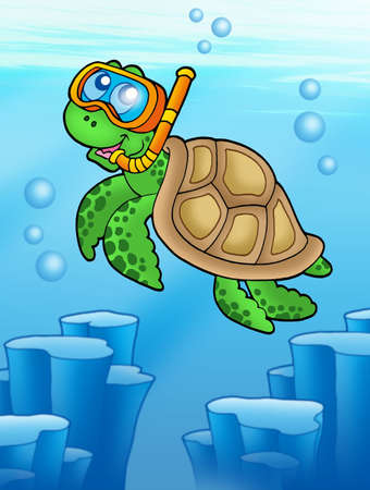 Sea turtle snorkel diver underwater - color illustration.