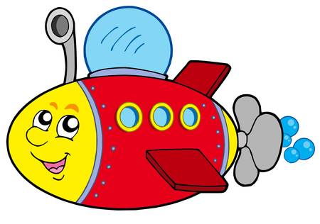 Cartoon submarine on white background - vector illustration.