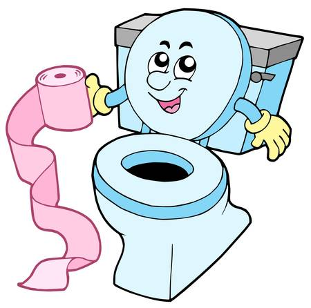 restroom: Cartoon toilet on white background - vector illustration.