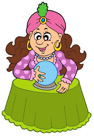 pr�voyance: Fortune teller avec boule de cristal - illustration vectorielle.