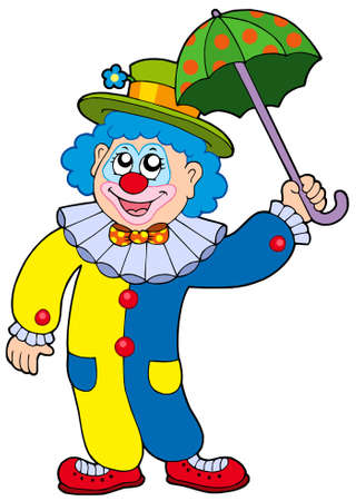 Funny clown holding umbrella - vector illustration. Illustration