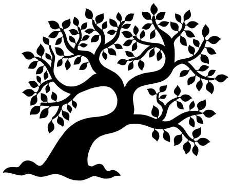 Frondoso árbol de silueta - ilustración vectorial.