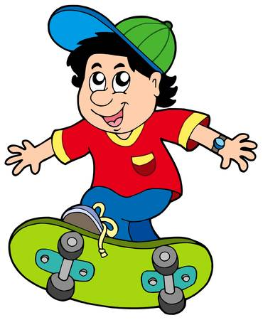 skates: Skateboarding boy on white background - vector illustration.