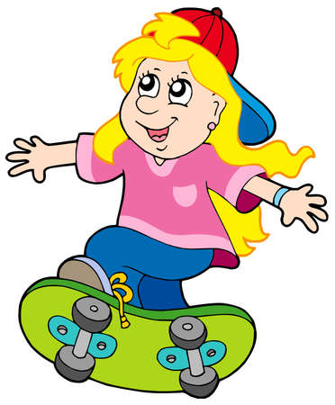 Skateboarding girl on white background - vector illustration. Vector