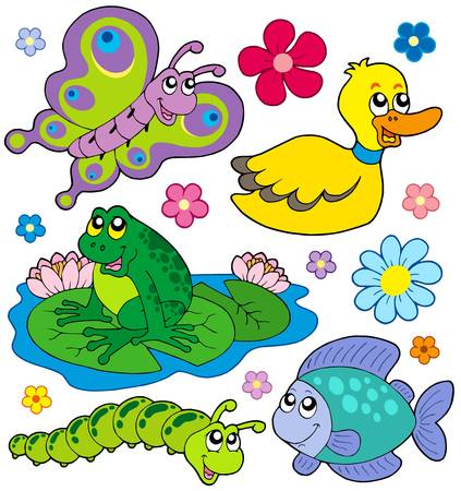 fish pond: Small animals collection 8 - vector illustration.