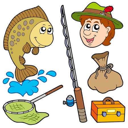 carp fishing: Cartoon fisherman collection - vector illustration. Illustration
