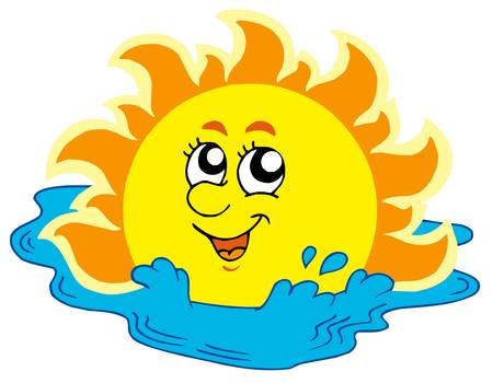 Cartoon Sun bathing in sea - vector illustration. Vector