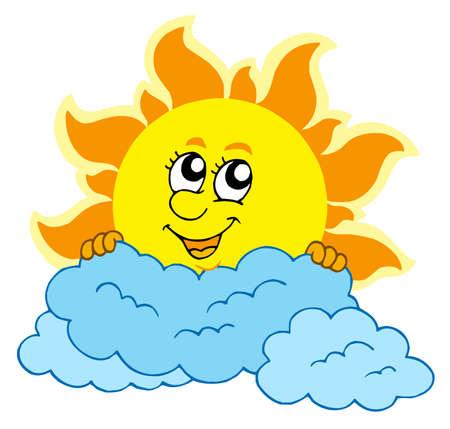 Cute caricaturas Sol con las nubes - ilustración vectorial.
