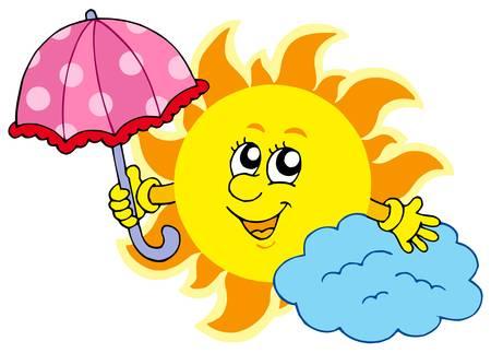Cute cartoon Sun with umbrella - vector illustration. Vector