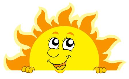 Cute lurking Sun - vector illustration. Vector