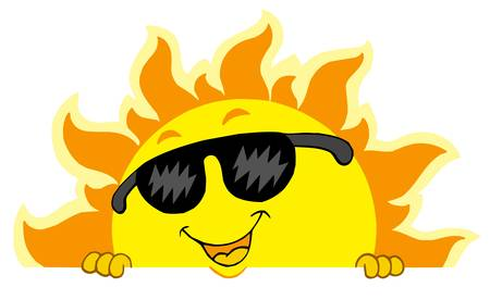 lurk: Cute lurking Sun with sunglasses - vector illustration.