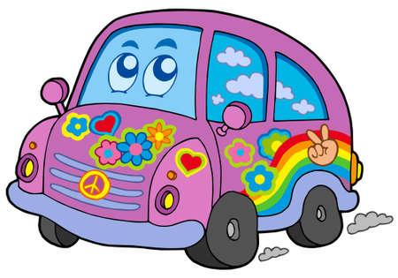 Hippie car on white background - vector illustration. Vector