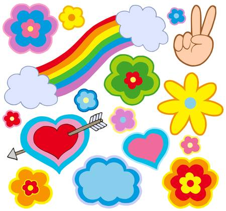 Hippie decorations on white background - vector illustration. Vector