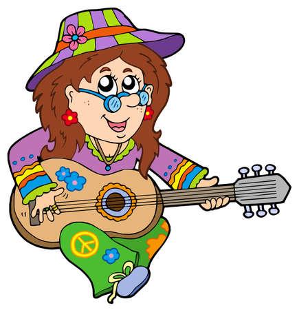 Hippie guitar player - vector illustration.