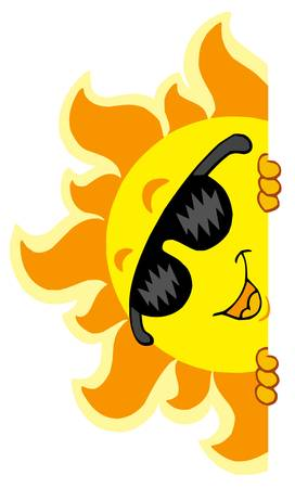 Lurking Sun with sunglasses - vector illustration. Vector