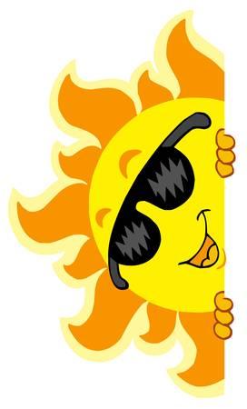 Lurking Sun with sunglasses - vector illustration. Ilustrace