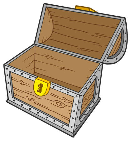 wooden box: Open empty treasure chest - vector illustration. Illustration