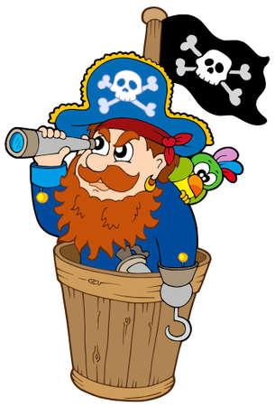 pirata: Pirata en el perro reloj - ilustraci�n vectorial.