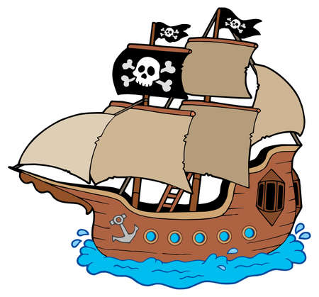Pirate ship on white background - vector illustration. Vector