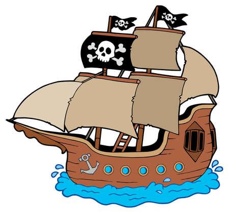 Piratenschip op witte achtergrond - vector illustratie.