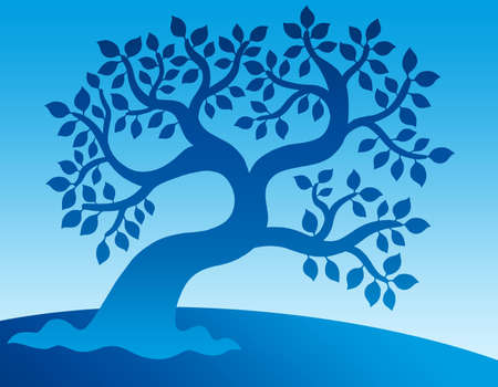 tree line: Blue leafy tree - color illustration. Stock Photo