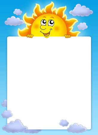 cartoon summer: Frame with cute lurking Sun - color illustration. Stock Photo