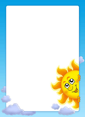 Frame with lurking Sun - color illustration. Stock Illustration - 5054526