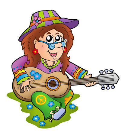 man playing guitar: Hippie guitar player outdoor - color illustration.