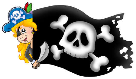 lurk: Lurking pirate girl with banner - color illustration.