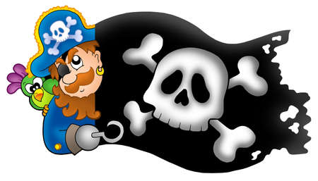 Lurking pirate with banner - color illustration. illustration
