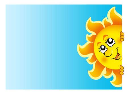 lurking: Lurking Sun on sky - color illustration. Stock Photo