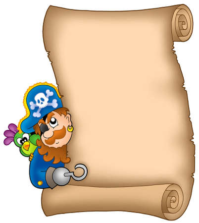 Parchment with lurking pirate - color illustration. illustration