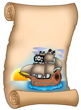 Parchment with pirate ship - color illustration. illustration