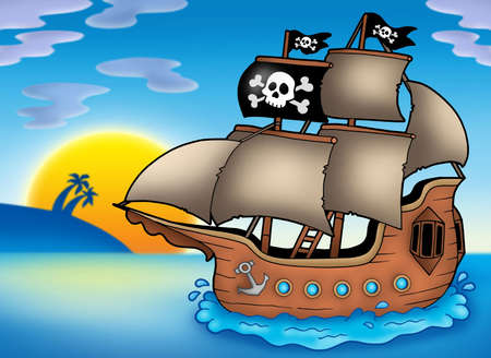 Pirate ship on sea - color illustration. Stock Photo